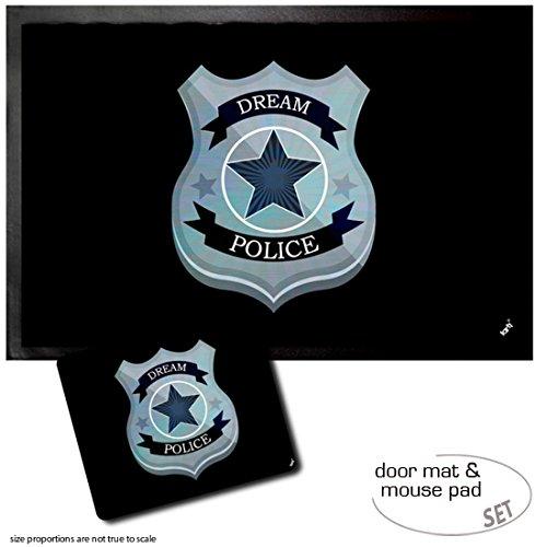 Set: 1 Fußmatte Türmatte (60x40 cm) + 1 Mauspad (23x19 cm) - Abzeichen, Dream Police Polizei-Marke
