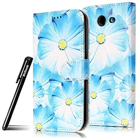 BtDuck Spécial Officiel Une Cuir Coque de Protection Housse Étui pour Samsung Galaxy J5 2017 (J320 US Version) Coeur de la fleur jaune Orchidée bleue Camouflage Cacher Ne pas faire l