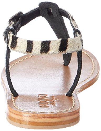 Inuovo - 7764, Infradito Donna Mehrfarbig (Pewter-Zebra-Black)