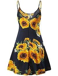 480844c4fb2277 MSBASIC Ärmelloses, verstellbares Riemchensommer Strand Swing Kleid für  Damen