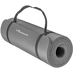 REEHUT Colchoneta de Yoga de NBR de Alta Densidad y Extra Gruesa de 12mm Diseñada para Pilates, Fitness y Entrenamiento/Correa Portátil(Gris)