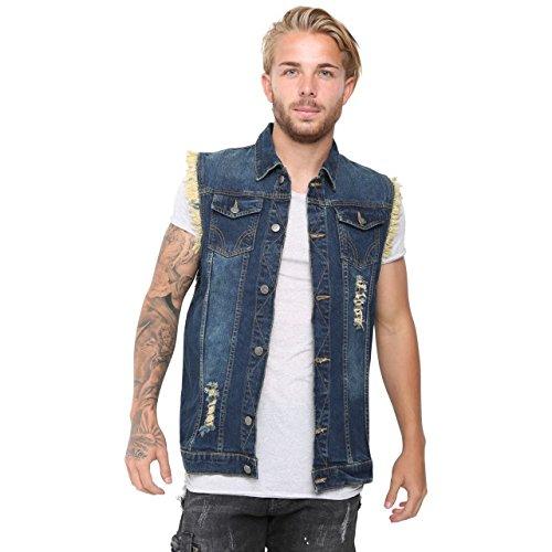 SKYLINEWEARS Mens Hip Hop Sleeveless Pure Cotton Denim Vest Jackets