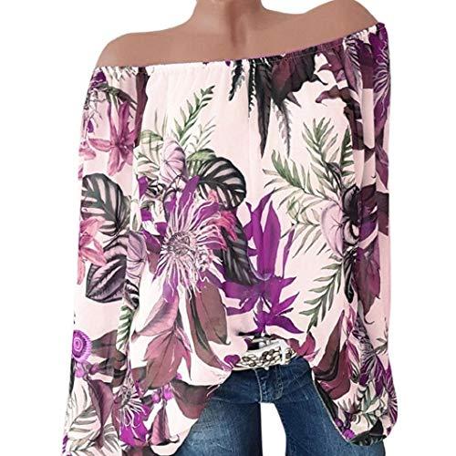 (Subfamily Frauen Plus Größe Langarm Blumendruck Schulter Bluse Pullover Tops Hemd Sexy Schulterfrei Langarmshirt Beiläufig Hemd)