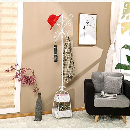Appendiabiti da terra, camera, multifunzionali per la casa, europeo in ferro battuto (Colore : Bianca)
