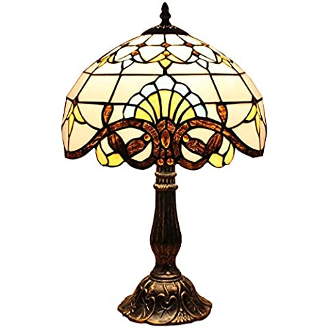 Bieye Tiffany Style Stained Glass Baroque Table Lamp with 12 inches Handmade Lampshade, Suitable for Decorating Room