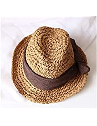 Young shinee Cappello per Bambini Cappello da Bowknot Cappello di Paglia  per Bambini Cappello a Bombetta 48393d156776