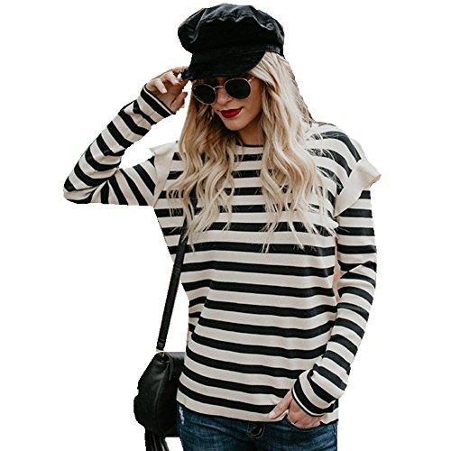 Ansenesna Mode Damen Loose Casual Rüschen Langarm Stripe Bluse Tops T-Shirt (Schwarz, XL) (Cashmere Cardigan Rüschen)