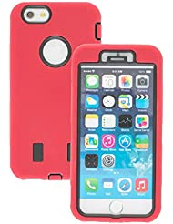 Good Quality Apple iphone 6s Case cover Durable Shockproof Armor Case 3in1 Combo Rigid PC + Soft Silicone Protective Case (Red)