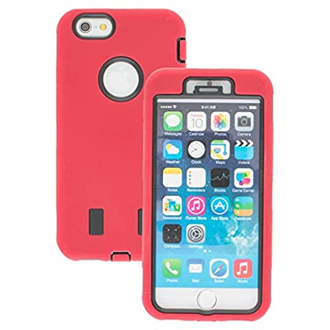 Decent Style Apple iphone 6s Case cover Durable Shockproof Armor Case 3in1 Combo Rigid PC + Soft Silicone Protective Case (Red)