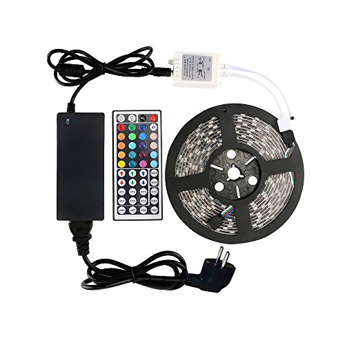 WenTop Tira Led Kit, Flexible impermeable Led luces Kit,5050 300leds 5M RGB Tira Led luces + 44key IR controlador remoto para el hogar Gabinete de coc