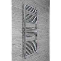 companyblue 700mm Wide Curved Chrome Heated Towel Rail Radiator Ladder for Stylish Bathroom (700 x 1700 mm)