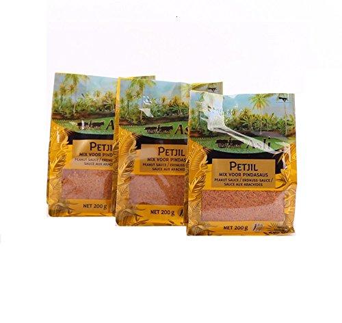 3 x 200g Asli Petjel Erdnuss Sauce Sate Satay Saté Erdnusssauce Soße Satee Dip Pamai Pai®