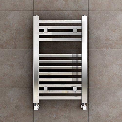 iBathUK 650 x 400 Premium Square Bar Heated Towel Rail Chrome Bathroom Radiator - All Sizes