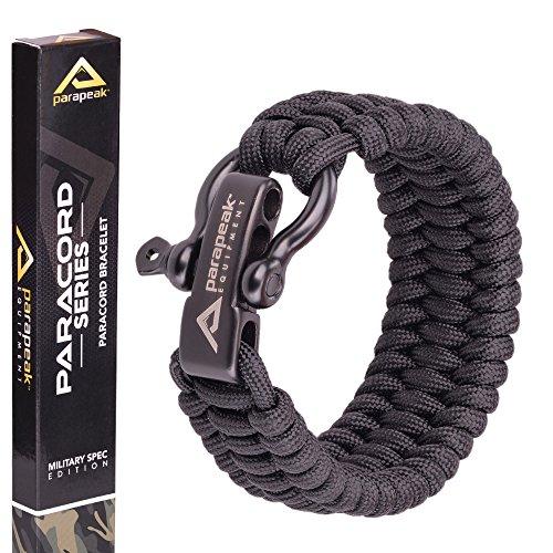 Parapeak militare Spec Paracord–Braccialetto di sopravvivenza Trilobite stile con regolabile in acciaio INOX grillo, Black, Black Clasp, 9' (for 7'-8' Wrists)