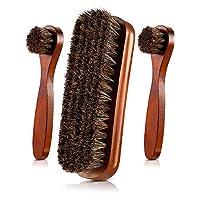 3 Pieces Horsehair Shoes Polish Brushes Care Clean Daubers Applicators