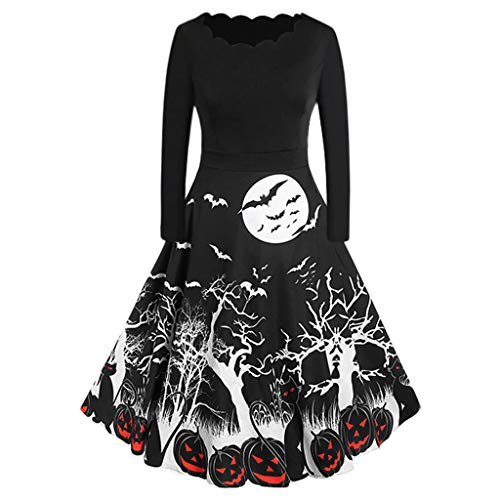 SEWORLD Halloween Frauen Vintage Kleid Mode Rotes Halloween Cosplay Kostüm Makeup Party Kleid Langarm Halloween Hausfrau Abend Party Abendkleid Performance Anzug Kostüm(Schwarz,34 DE/S CN)