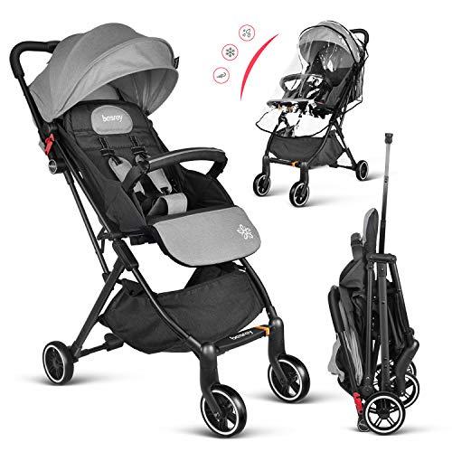 Besrey leicht Buggy Kinderwagen Reisebuggy einhand kompakt klappbar mit Liegeposition + Regenverdeck Grau …