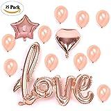Miigo 25 Stück Latex Luftballon Konfetti Luftballons Folienballon Liebe Herz Ballon in Rosegold für Hochzeit Geburtstag Baby-Dusche Schminke Kostüm Dekorationen Party Zeremonie