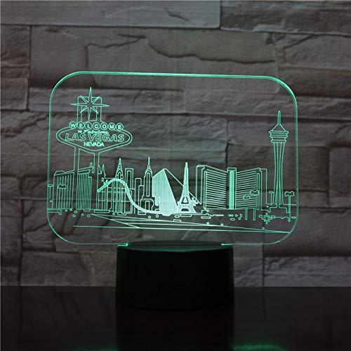 YDBDB Usb 3D Led Nachtlicht Stadt Las Vegas Atmosphäre Lampe Dekoration Kinder Baby Geschenk Berühmte Gebäude Tischlampe Nachttisch Neon
