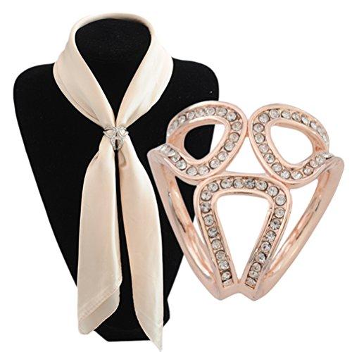 S&E Frauen Stilvolle Perlen Diamante Schal Clip Three Rings Strass Schals Ring Brosche