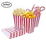 TankerStreet Scatole di Popcorn Rosso e Bianco a Righe Contenitori di Carta Caramelle Sacchetti per Feste Bambini Regali Compleanni Film Teatri, Confezione da 24