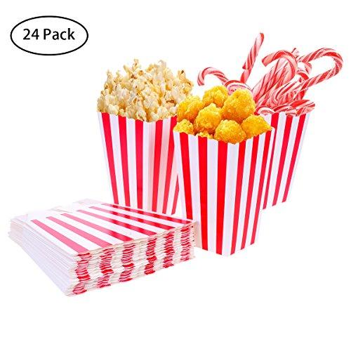 ck Popcorn-Boxen Rot und Weiß Gestreift Papier Taschen Candy Container für Party, Kinder, Geschenke, Geburtstage, Kino, Theater (Small Favor Boxen)