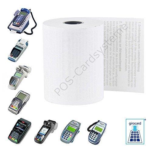 50 EC-Cash Thermorollen 57mm x 18m x 12mm für EC-Gerät Ingenico ICT 220, IWL 250, Verifone VX, CCV mit Lastschrifttext
