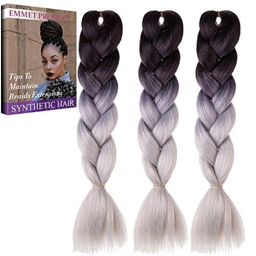 Jumbo Braids-Premium Qualität 100% Kanekalon Braiding Haarverlängerung Full Bundles 100g / pc Synthetik Haar Ombre 24Inch 3Pcs / lot Hitzebeständig, lange Zeit mit-37 Farben 2Tone & 3Tone, Garantie 1 Woche (Kostüme Mann Indische)