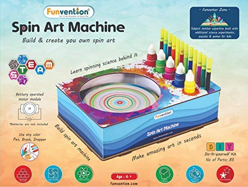 Funvention Spin Art Machine, DIY, STEM Learning Kit, Educational Toy, Art, Colouring, Painting Build and Play Kit for Kids and Grown up