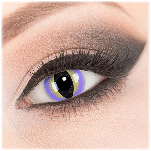 Farbige lila baune Crazy Fun Kontaktlinsen 1 Paar 'Purple Dragon' mit Behälter - Topqualität von 'Evil Lens' zu Fasching Karneval Halloween ohne Stärke