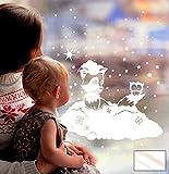 Fensterbild Fensterdeko Winterbild Winter Fuchs Eule Schnee Schneeflocken Sterne Punkte M1706 - ausgewählte Farbe: *Milchglas* - ausgewählte Größe: *XL - 51cm breit x 51cm hoch*