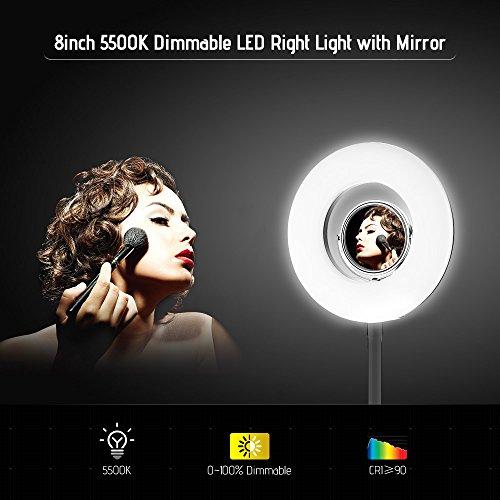 TOPTOO Tablero de 8 Pulgadas 5500K Anillo de luz LED de Video...