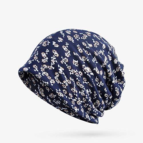 yuange Turban Hut Lätzchen kleine Blumen Baumwolle Mode Winddicht Damenhut, kleine Blumen - Saphir, alle haben elastische Hut Lätzchen Doppelnutzen
