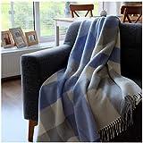 Linen & Cotton Plaid di Lusso, Coperta, Copriletto, Coperte DEVON - 100% Lana Nuova Zelanda (140 x 200cm) Blu