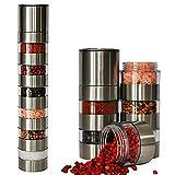 Top Home Solutions® Spice Grinder Stainless Steel - 6 Jar Salt and Pepper Shaker Set - Adjustable Ceramic Grinder for Salt Pepper, Peppercorn, Cloves and More - Clear Acrylic Body- Easy Fill Design (Kitchen & Home)