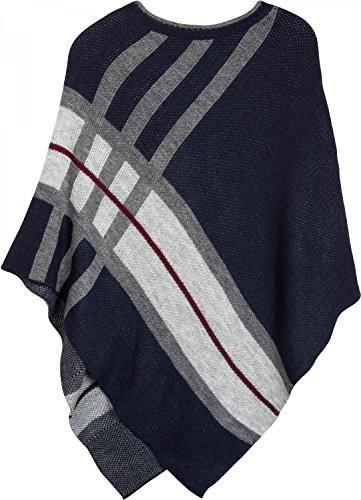 styleBREAKER poncho in maglia ifine con riche in contrasto cromatico, girocollo, rigato, look oversized, donna 08010041 Blu scuro