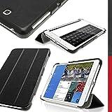 """igadgitz Negro Funda Eco Cuero para Samsung Galaxy Tab 4 7"""" SM-T230 con Supporto + Protector Pantalla"""