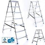 Zweiseitige Aluleiter KLAPPLEITER Leiter Ladder Haushaltsleiter 150kg | 2x7 Stufen
