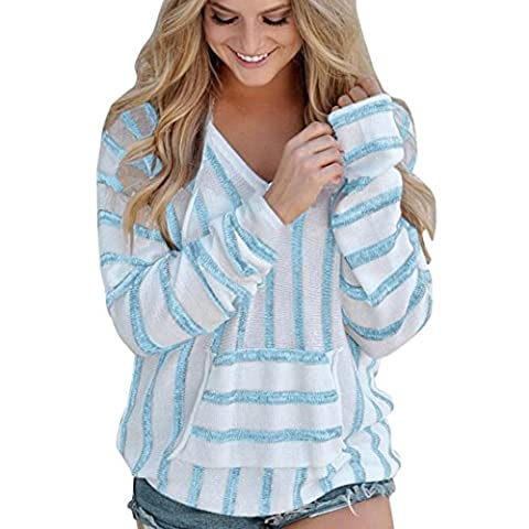 High Quality LCLrute Sexy Sweater Womens Stripe Loose Long Sleeve Jumper Sweater Ladies Casual Knitwear Tops (Sky Blue, XL)