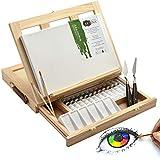 Artina Kit Pittura Milano con cavalletto da Tavolo Tela pittorica 20x30cm Colori acrilici pennelli spatoline e tavolozza