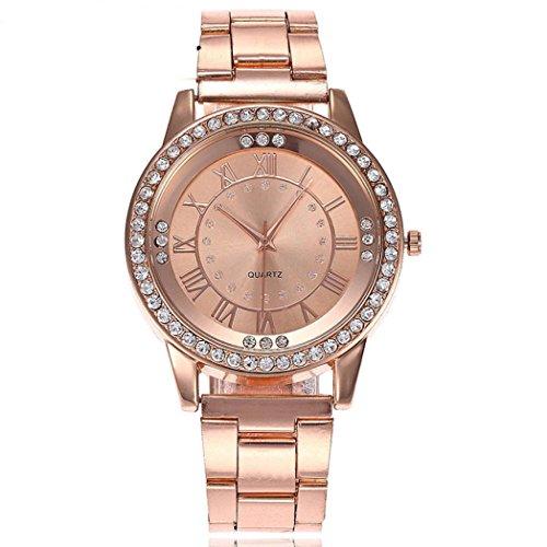 Uhren Dellin Qualität Japanisches QuarzWomen's Herren Kristall Strass Edelstahl Analog Quarz Armbanduhr (Roségold)