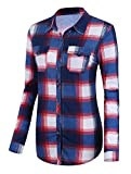Urban GoCo Donna Classica Bottone Camicia Blusa a Quadri Camicetta a Lunga Manica #2 L