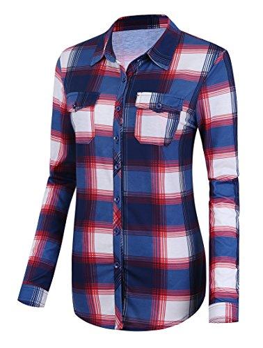 Damen Karierte Blusen Langarmhemd Karierte Bluse Plaid Shirt (XXL, #2) -