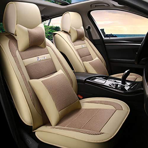 Universal-Autositzbezüge Vordere und hintere Reihe 5 Sitzplätze Komplettset Komfortabel und atmungsaktiv. Leinen / Flachs und abriebfeste Ledernähte auto sitzbezüge ( Color : Beige , Size : Luxury ) - Camry Auto-sitzbezug Einen Für