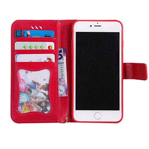 iPhone 7 Plus Custodia Case, iPhone 7 Plus Copertura 5.5, Design PU Leather Flip di cuoio case Portafoglio con slot per schede - albicocca rosso