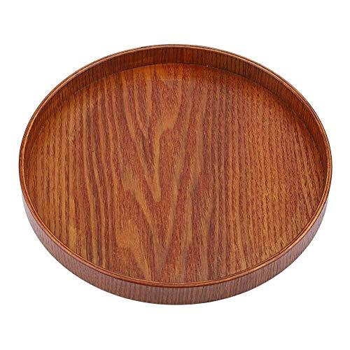 Essen Tablett Holz Tablett Runde Natürliche Holzplatte Tee Food Server Gerichte Wasser Trinken Platte (Size : 21 * 21cm) -