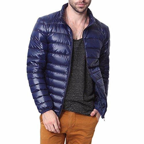 QIYUN.Z Léger Doudoune Col Packable Manteau D'Hiver Pour Hommes Bleu Marin