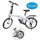 Ridgeyard 20 Pulgadas Bicicleta Plegables Plegable de 6 velocidades con Soporte Trasero LED Battery Light (Blanco)