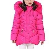 Ankoee Kinder Mädchen Lange Winterjacke Fellkapuze Outerwear Oberbekleidung Winter Kleidung Verdichte Kinderjacke Wintermantel Mantel (Rot-Rose, 130cm/5-6 Jahre)