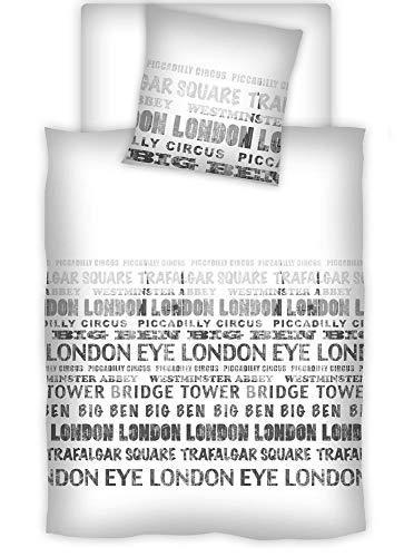 Rally Fashion Renforcé Bettwäsche Maxi London, 135 x 200 cm + 80 x 80 cm Weiß